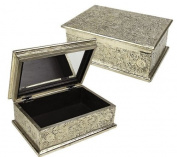 Vintage White Metal Finish Jewellery Box