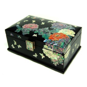 Mother of Pearl Inlay Art Red and Orange Peony Flower Design Lacquer Decorative Wooden Handcrafted Black Velvet Jewellery Trinket Keepsake Treasure Box Case Chest Organiser