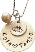 Hand stamped jewellery -Puppy Charm - Custom Sterling Silver Necklace