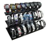 Black Acrylic Display Stand for Jewellery Bangle, Watches. Capacity 24, 3 Layer