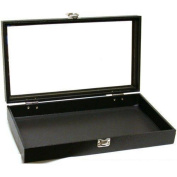 Black Jewellery Travel Showcase Display Glass Lid Case