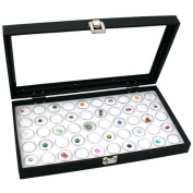 Glass Top Jewellery Display Case Box White 50 Gem Jars