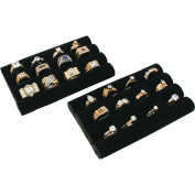 2 Black Velvet Ring Trays Jewellery Pad Showcase Displays 14cm