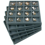 5 Grey 16 Slot 1/2 Size Jewellery Display Tray Inserts New