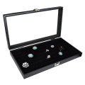 Glass Top Black Jewellery Display Case With 72 Slot Ring Tray 37cm W x 21cm D x 5.4cm H