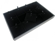 Black Velvet 12 Compartment with Pads Jewellery Display Case for Necklace Pendant Earrings