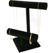 2 Tier Black Velvet T-Bar Bracelet & Necklace Display