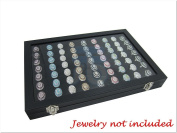 35*24*4.2cm Glass Top Lid Black Velvet Jewellery Ring Display Case / Tray