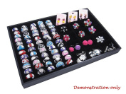 Countertop Protable Jewellery Display Case - 60 Ring / Cuff Slots Plus 15 Compartments Ideal for Retail Shop Storage