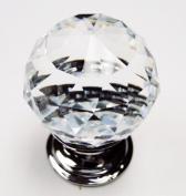 Clear Round Cut Crystal 30mm Drawer Knob Pull Handle - 10Pk
