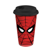 Vandor 26351 Spider-Man Double Wall Ceramic Travel Mug with Silicone Lid, 350ml, Red/Black