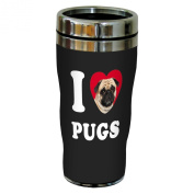 Tree-Free Greetings SG25105 I Heart Pugs Sip 'N Go Stainless Lined Travel Tumbler, 470ml, Tan and Black Close-Up