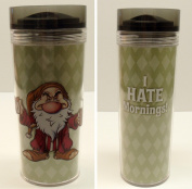"Disney Snow White Grumpy Mornings Travel Coffee Mug Tumbler with Worn Out Grumpy on One Side and the Saying ""I Hate Mornings"" on the Other Side"