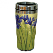 Tree-Free Greetings sg23745 Irises on Green by Nel Whatmore Travel Tumbler, 470ml