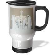 3dRose Abraham Lincoln Memorial Travel Mug, 410ml, Stainless Steel