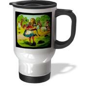 3dRose Alice in Wonderland Golfing Stainless Steel Travel Mug, 410ml