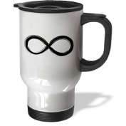 3dRose Drawn Infinity Symbol Travel Mug, 410ml, Stainless Steel