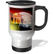 3dRose Eagle Cactus-Protector of The Desert Stainless Steel Travel Mug, 410ml