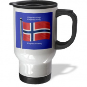 3dRose tm_63190_1 The Flag of Norway on a Blue Background with The Kingdom of Norway in English and Norwegian Stainless Steel Travel Mug, 410ml