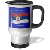 3dRose tm_63201_1 The Flag of Serbia on a Blue Background with Republic of Serbia in English and Serbian Stainless Steel Travel Mug, 410ml