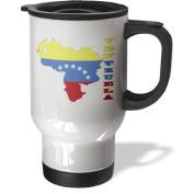 3dRose Venezuelan Flag in Outline Map and Letters of Venezuela Stainless Steel Travel Mug, 410ml