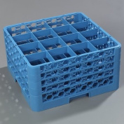 Carlisle RG16-414 Opticlean 16-Compartment Glass Rack with 4 Extenders, Blue