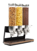 Rosseto Triple Container EZ-SERV Table-top Cereal Dispenser With Walnut Tray ( 4.9l ea.) EZ520