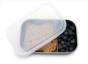 U Konserve UK032 Rectangle Container with Divider, Stainless/Clear