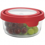 Anchor Hocking TrueSeal 4 Cup Round Food Storage Container with Red Plastic Lid, Set of 4