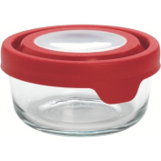 Anchor Hocking TrueSeal 2 Cup Round Food Storage Container with Red Plastic Lid, Set of 6