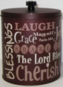 Christian Spiritual Words Food Safe Tin 15cm X 14cm X 14cm Subway Style Text