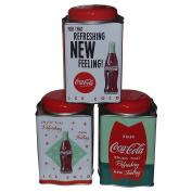 Retro Galvanised Coca-Cola Tea Caddy Tins Set of 3