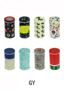 Set of 8 Home Kitchen Storage Containers Colourful Tins Round Tea Tins
