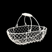 Stella Mini Wire Basket with Swing Handle- White