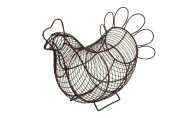 T & G Woodware Rustic Brown Wire Provence Chicken Egg Basket 23004
