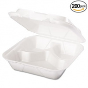 -- Snap It Foam Container, 3-Comp, 8 1/4 x 8 x 3, White, 100/Bag, 2 Bags/Carton