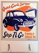Cobble Creek Quick Curb Service Antique Car Wooden Kitchen Towel or Key Holder