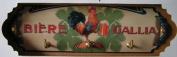 FRENCH VINTAGE CLOTH TOWEL KEY HOOK METAL GALLIA BEER - AT821