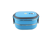 Insulated Stainless Steel Sealed Students Creative Two Layers Lunch Box Blue