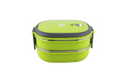 Insulated Stainless Steel Sealed Students Creative Two Layers Lunch Box Green