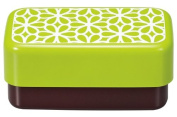 Masakazu [two-stage lunch box] square compact lunch hanahana Green 75 905