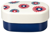 Masakazu [two-stage lunch box] wamoyou oval compact lunch flower design Red & Navy
