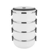 Stainless Steel Four Layers Lunch Box Tableware Student Portable Pot White