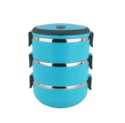 Stainless Steel Three Layers Lunch Box Tableware Student Portable Pot Blue