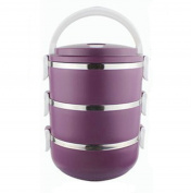 Stainless Steel Three Layers Lunch Box Tableware Students Portable Pot Purple