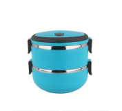 Stainless Steel Two Layers Lunch Box Tableware Student Portable Pot Blue