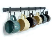 Wall-Mounted Wrought Iron Mug Rack, 60cm with 6 Cup Hooks