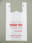 Plastic Bag- Standard 'Thank You' White T Shirt Bag 29cm x 17cm x 21.13cm 15 mic - 1000 bags/case