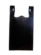 Plastic Bag-Black Plain Embossed T-Shirt Bag 29cm x 17cm x 21.13cm 13 mic - 100 bags/bundles