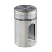 Stainless Steel-Over-Glass Spice Jar with 3-Size Shaker Top - Spices, Herbs, Seasonings